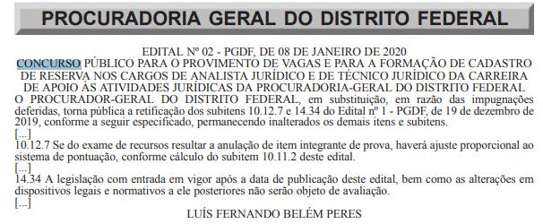 Concurso PGDF: edital retificado!
