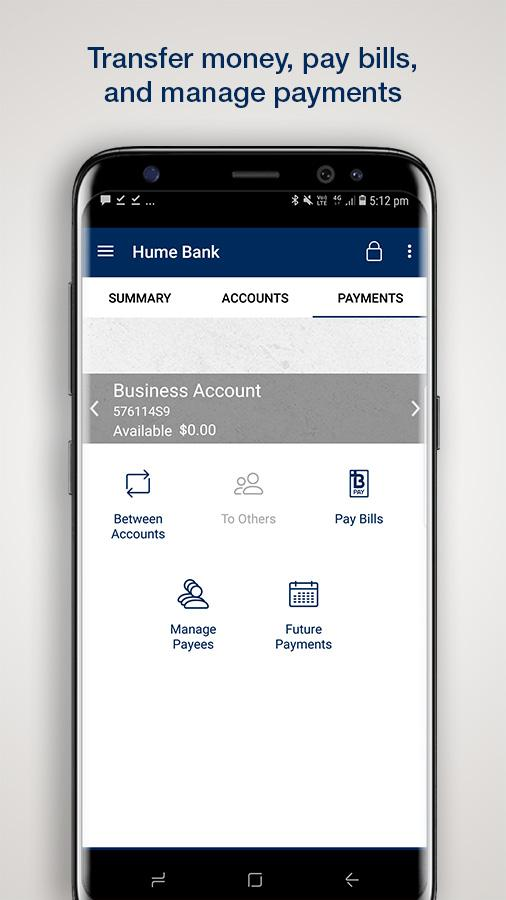 Hume Bank- screenshot