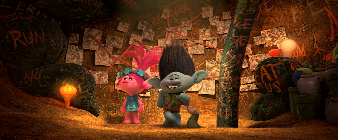 From left: Branch (voiced by Justin Timberlake) and Poppy (voiced by Anna Kendrick) in DreamWorks Animation's TROLLS. (Photo courtesy of DreamWorks Animation)