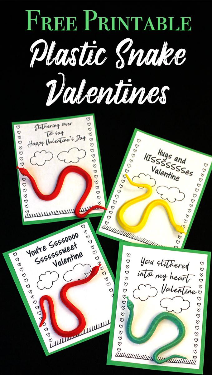 Free printable dollar store snake school valentines