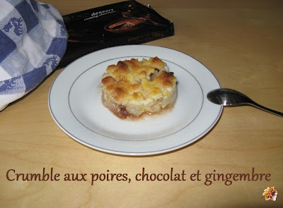 Crumble aux poires, chocolat et gingembre - recette indexée dans les Desserts