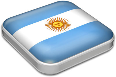 Flag of Argentina with metallic square frame