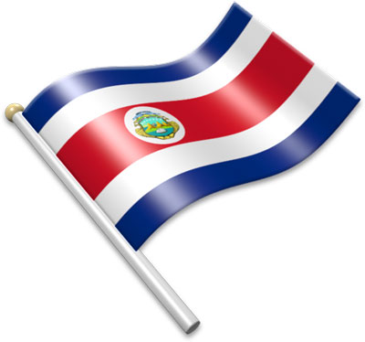 The Costa Rican flag on a flagpole clipart image