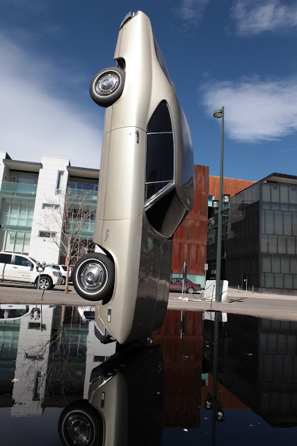 Car art outside the Museum of Contemporary Art in Denver.