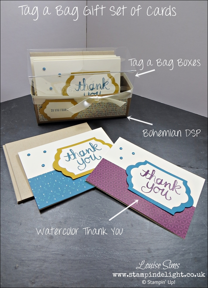 Stampin' Up! Tag a Bag Boxes used to create a set of cards as a gift #stampinup #handmadegift #papercraft