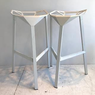 Geometric Metal Bar Stool Pair
