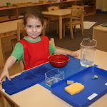 Working with water to see what floats or sinks is fun!