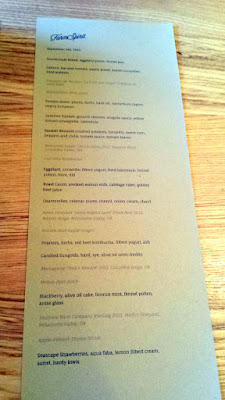 Front of Menu on September 5, 2015 at Farm Spirit