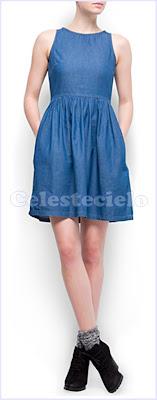 Vestido de denim fruncido en cintura