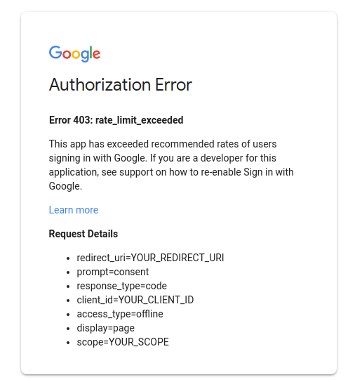 Error 403 Authorization Error window