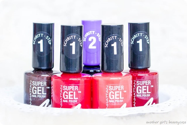 Manhattan Super Gel Nail Polish Swatch Erfahrungsbericht seductive red ladies night almost midnight devious red