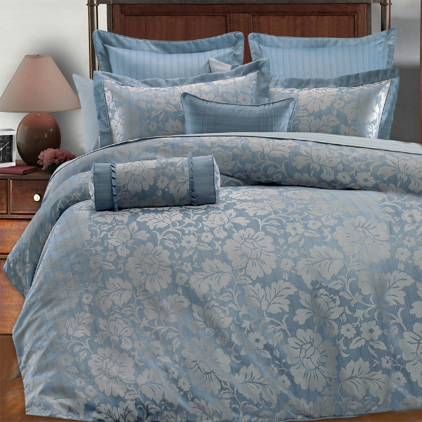 Hometary Blue And Silver Bedding Wide Collection Croscill