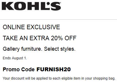 Kohls Coupon 20% Off Hillsdale Furniture