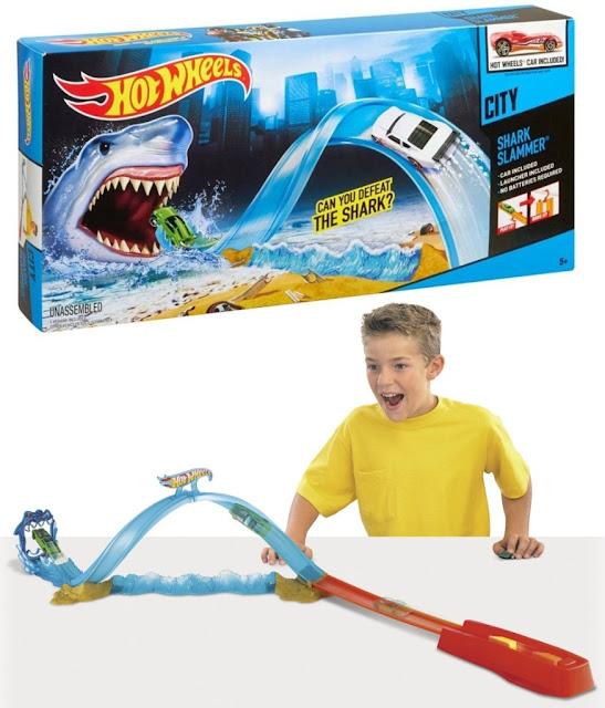 Mô hình Giải cứu phi cơ Hot Wheels City Track Set X2604 Hàm cá mập