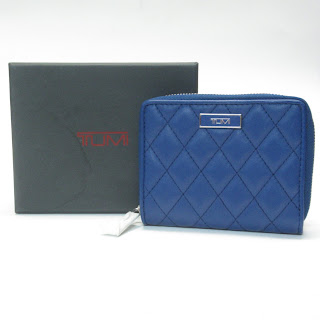 Tumi NEW Quilted Blue Leather Zip-Around Wallet