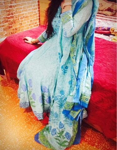 Biba Cotton Blue Anarkali Suit Set