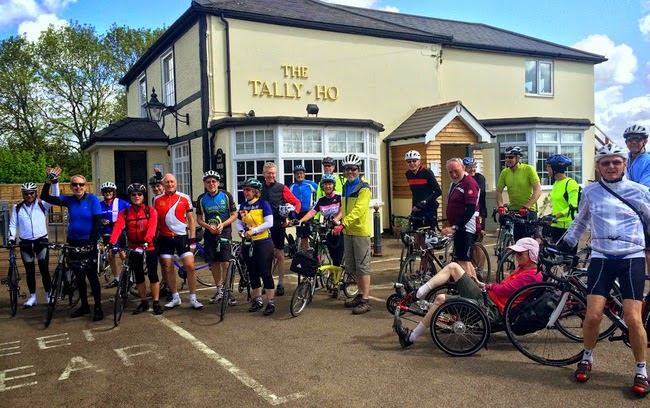 Bunch of riders outside pub