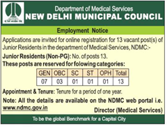 NDMC Junior Residents 2017 indgovtjobs