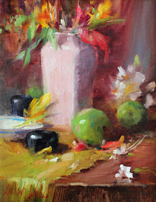 """""""Pink Vase and Green Apples"""""""