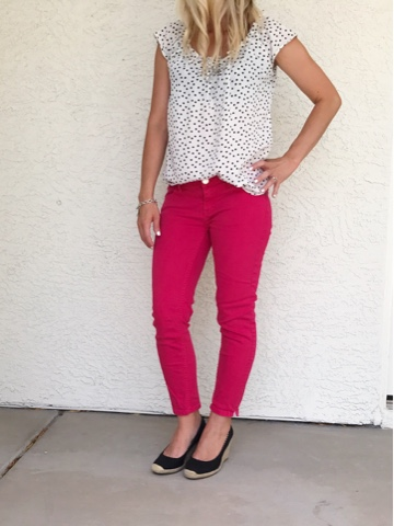 Thrifty Wife, Happy Life- Adding a pop of color with red jeans