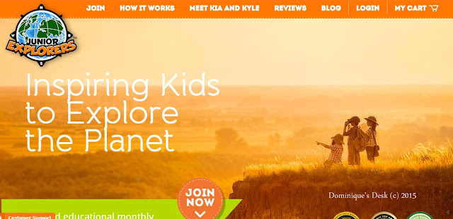 The welcome screen for Junior Explorers website