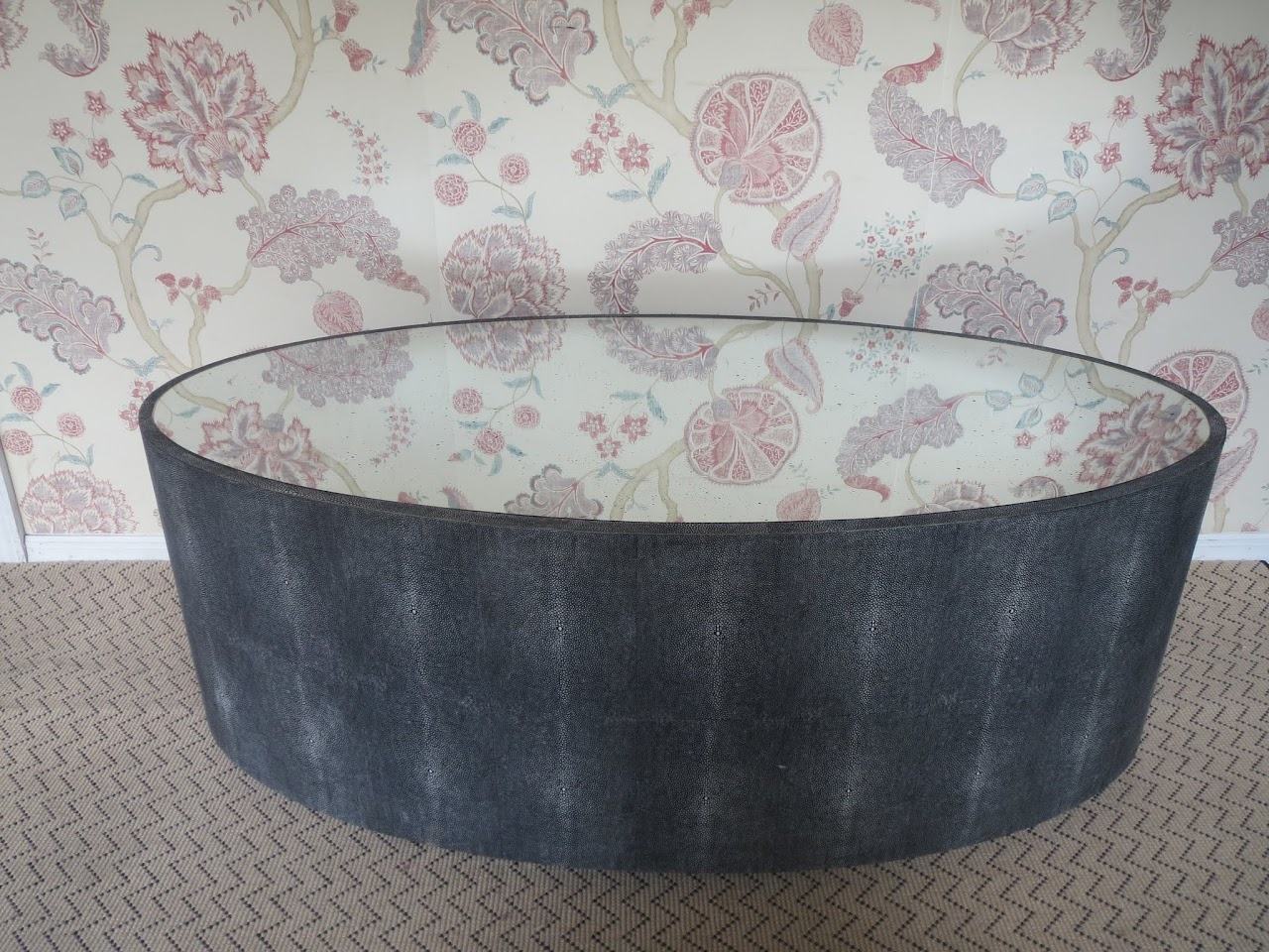Mirror-top Faux Shagreen Coffee Table