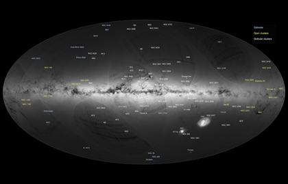 versão anotada do mapa de estrelas da Via Láctea