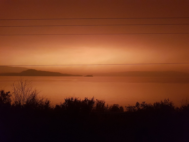 Fraser Lake at about 4 p.m. PT on Tuesday, 14 August 2018. Sunset isn't until 8:51, but it was already getting dark as smoke from wildfires blotted out the sun. Photo: Andrew Kurjata / CBC