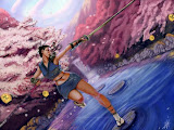 Samurai In The Forest Of Pink Cherry Blossoms