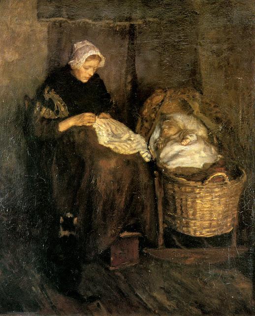 Albert Neuhuys - Woman at cradle.