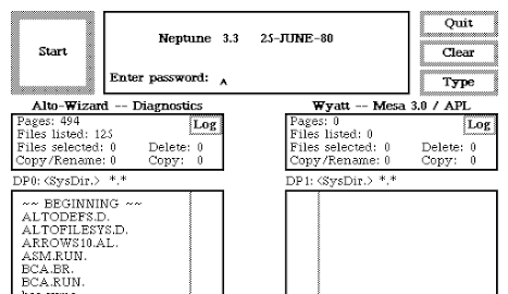 The Neptune file browser checks for a password.