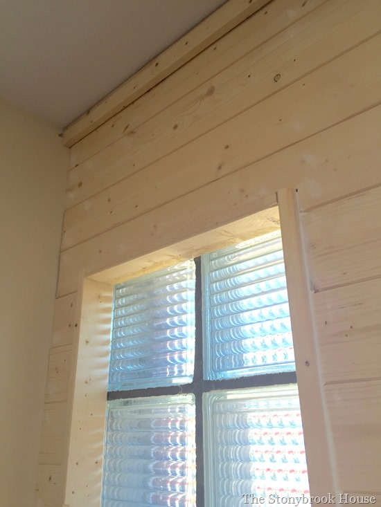 Plank wall window casing and top trim