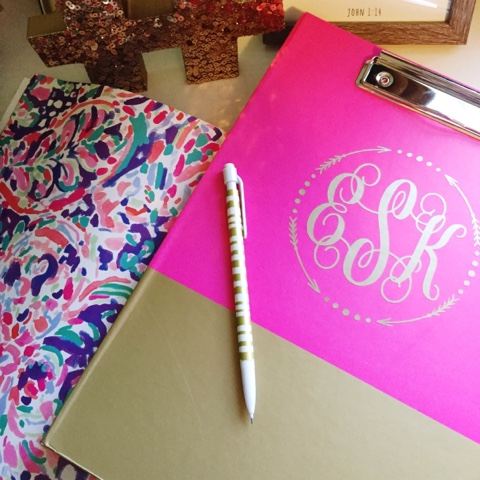 preppy style, monogram notebook