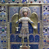 75. Archangel Michael. Enamel with precious stones Byzantine icon. The Treasury of the Patriarchal Cathedral Basilica of Saint Mark. Venice. 2013