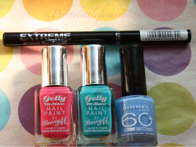 Barry M gelly Hi Shine, Rimmel 60 Seconds and Collection felt liner
