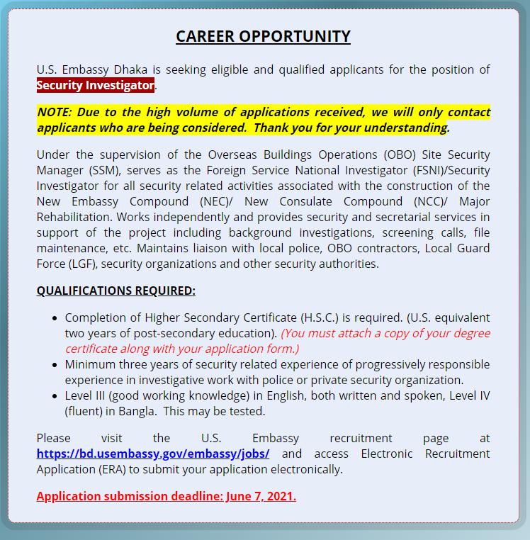 U.S. Embassy Job Circular 2021 - আমেরিকা এম্বাসি সহ  বিভিন্ন দূতাবাসে চাকরি ২০২১ - Job Openings at the Embassy