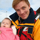 Proud dad, Pete, with his new bonny arrival, Evalyn. 25 January 2014 Photo: RNLI Poole/Rob Inett