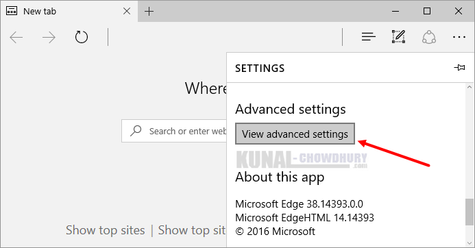 2. Open Advanced Settings of Microsoft Edge on Windows 10 (www.kunal-chowdhury.com)