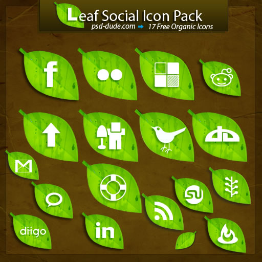 leaf icons, leaf, leaves, earthy, eco, social icons, social icon sets, social networking icons, green icons, twitter icon, digg icon,