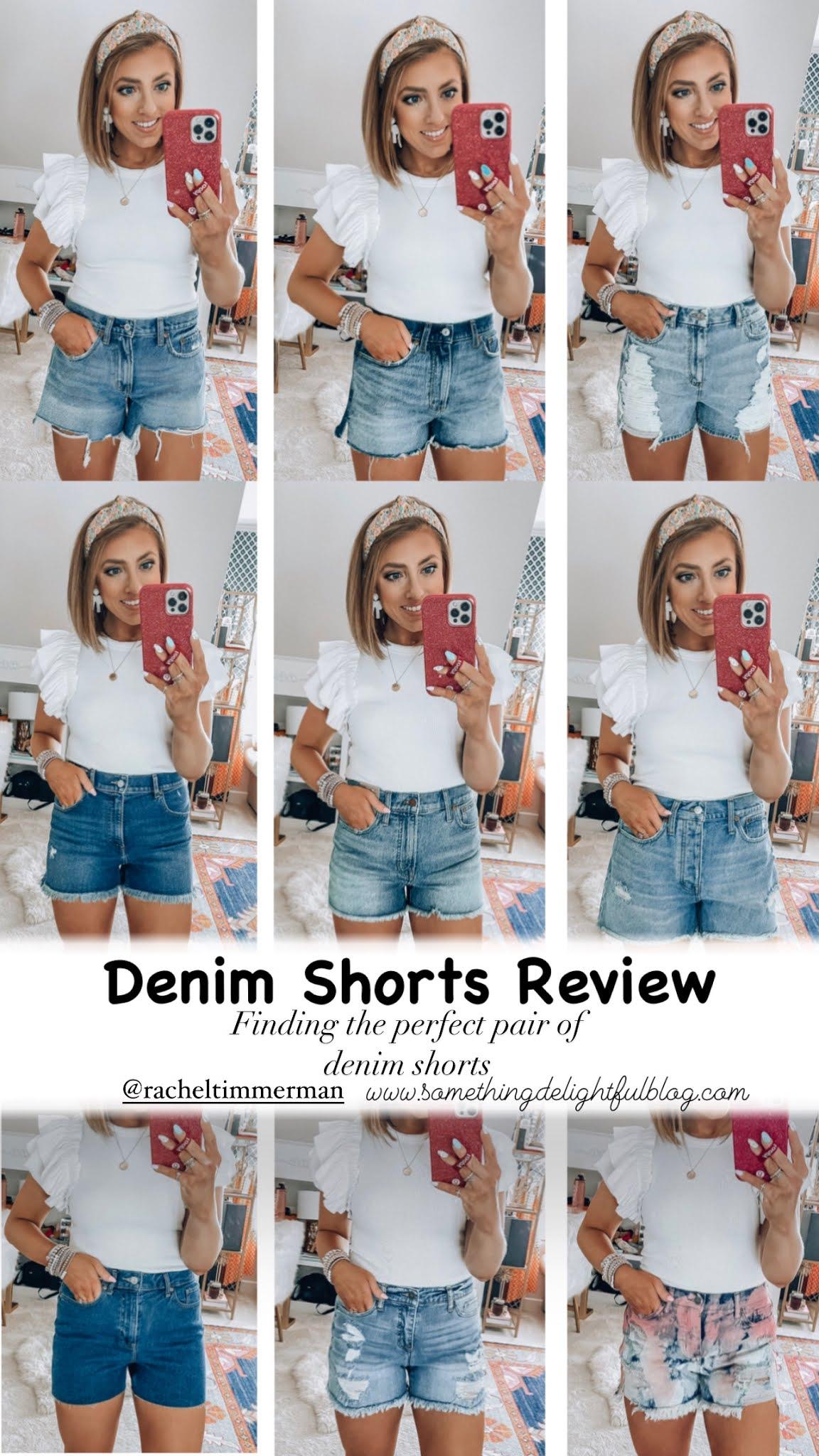 Denim Shorts Review - Finding the perfect pair of denim shorts (11 Pairs) - Something Delightful Blog #denimshorts #muscularlegsdenimshorts #Targetstyle #afdenimshorts #aedenimshorts #spring21fashion #perfectpairdenimshorts