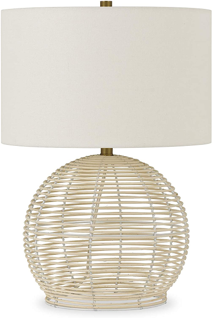 modern rattan lamp with white shade