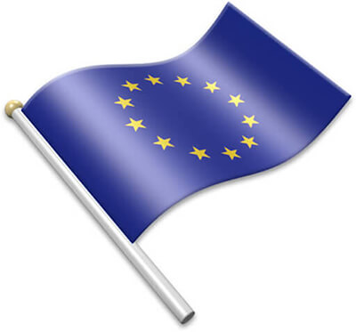 The European flag on a flagpole clipart image