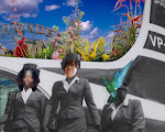 """DREAMSCAPE: With the Wonder Wheel (Coney Island) and Trinidadian flora in the background, Ava and daughter march to work as stewardesses. Recently, Ava has remarked: """"The Dreamscape makes me think about the dreams my mom had and consider it for myself. """""""