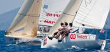 J/80 sailboats- sailing upwind in Copa del Rey, Palma Mallorca, Spain
