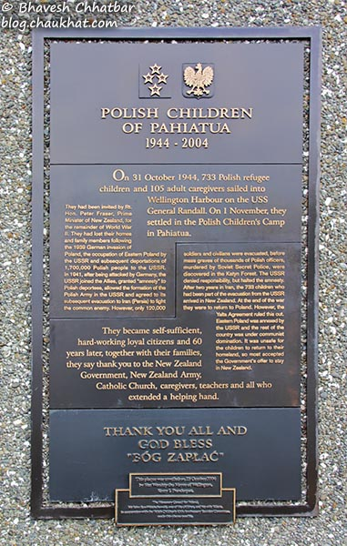 A board at the Frank Kitts Park of Wellington [New Zealand] mentioning about the Polish children of Pahiatua 1944-2004