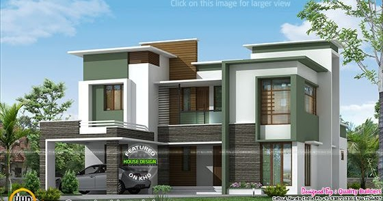 2806 Sq Ft Flat Roof Contemporary Kerala Home Design And