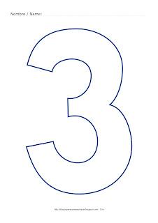 Lámina para colorear y pintar el número tres en color azul