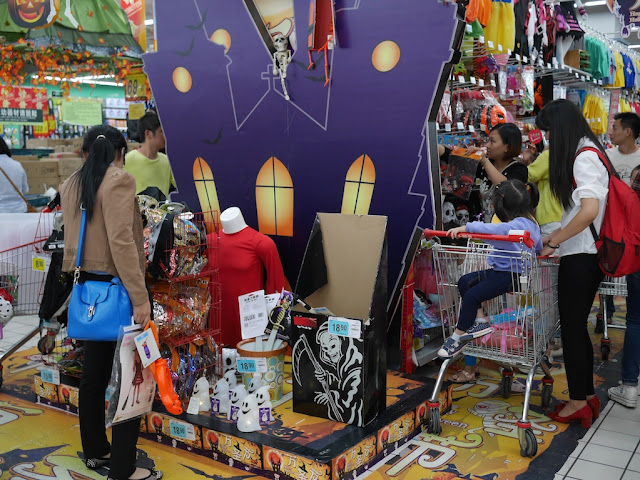 Halloween supplies for sale at an RT-Mart in Shaoguan, China