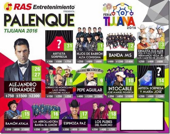 Palenque Tijuana 2016 Cartelera