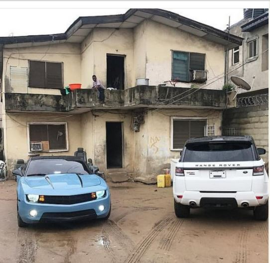 See the Expensive Cars Allegedly Parked by Suspected Yahoo Bois in a Ghetto House (Photo)